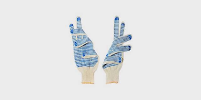 Перчатки вязаные хлопчатобумажные с двусторонним ПВХ