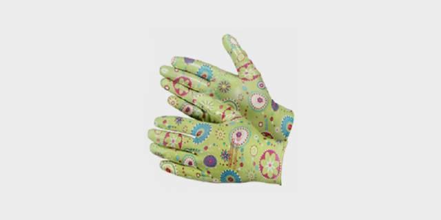 Перчатки нейлоновые тонкие садовые с полимерным покрытием ладони и пальцев