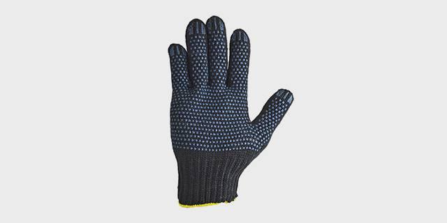 Перчатки вязаные п/шерстяные, с ПВХ нанесением «Точка», черные