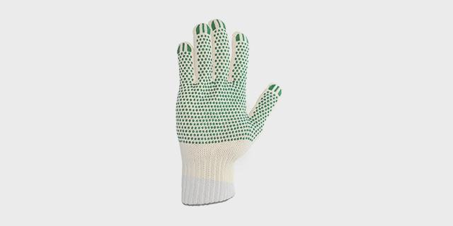 Перчатки вязаные х/б с ПВХ покрытием, «ЛЭВ» и без символики, белые, 13 кл., 46-48 гр