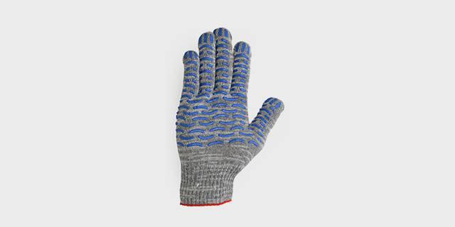 Перчатки вязаные х/б с ПВХ покрытием «ТРЕК МЕЛАНЖ», серые